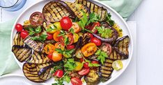 Chargrilled eggplant and tomato salad Creamy Pasta Salads, Creamy Potato Salad, Easy Pasta Salad, Easy Salads, Summer Salads, Healthy Salads, Healthy Food, Healthy Eating, Crunchy Noodle Salad