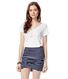Aeropostale Womens Striped Ruched Pencil Skirt