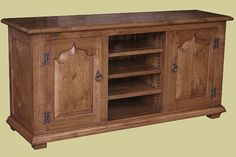 Television stand in oak, handmade in Britain to a period style. Part of our Chalvington TV furniture range. Tv Furniture, Furniture Design, Tv Cupboard, Tv Stand Cabinet, Television Stands, Selection Boxes, Stand Design, Cupboards, Bespoke