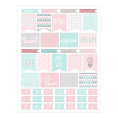 Planner Stickers in Tribal Designs Pink, Aqua Blue and Silver Glitter - 2 Sheets, 1 with words, 1 is blank PS005 by HeadsUpGirls on Etsy