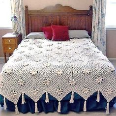 Curlicue Coverlet Crochet Pattern PDF by Maggiescrochet on EtsyPicture of Curlicue Coverlet Crochet Pattern . The flowers remind me of edelweiss.Curlicue Coverlet Pattern is a delicate crochet pattern that you can't help but fall in love with. Motifs Afghans, Afghan Crochet Patterns, Crochet Afghans, Crochet Bedspread Pattern, Crochet Blankets, Manta Crochet, Crochet Granny, Thread Crochet, Knit Crochet