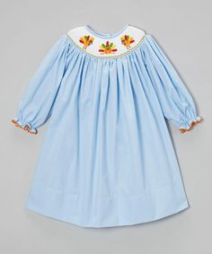 Look at this #zulilyfind! Blue Turkey Smocked Dress - Infant, Toddler & Girls by Olivia Kate #zulilyfinds