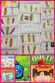 Ouch! Stories - students write about a time they were hurt & then illustrate with bandaids (original source of bandaid people unknown)