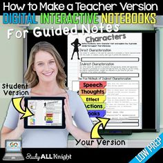 Are you interested in making a low prep teacher's edition digital interactive notebooks to created guided notes for your class?  Perfect for any classroom teacher who uses digital interactive notebooks in their classroom! Click through for more details no