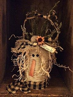 """Primitive Fall Scarecrow Tin Container """"Hayseed"""" Collection Adorably Fun Unique Handcrafted Autumn Home Decor Item Scarecrow Crafts, Fall Scarecrows, Halloween Crafts, Holiday Crafts, Primitive Scarecrows, Fall Halloween, Halloween Sewing, Scarecrow Wreath, Halloween Candles"""