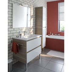 Meuble de salle de bains blanc 120 cm Oreti CASTORAMA