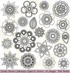 Hand Drawn Flowers Clipart Clip Art Doodle Mandala Clip Art Clipart Vectors - Commercial and Personal Use Mandalas Painting, Mandalas Drawing, Clipart, Art Doodle, Illustration Tattoo, Flower Doodles, Doodle Flowers, Creation Art, Marquesan Tattoos