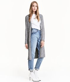 Check this out! Long cardigan in a melange rib knit. V-neck, buttons at front, and long sleeves. - Visit hm.com to see more.