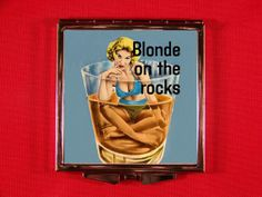 Compact Mirror Sexy Pinup Bikini Girl In Glass of Whiskey Vintage Bizarre Pulp Fiction Retro Blonde On The Rocks