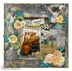 Movie Night Scrapbook Layout with a touch of @Stampendous Stamps #Frantage by @a s King for #SBAdhesivesby3L and @Monte Mortensen Paper Mill Blog Hop!