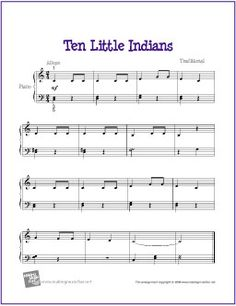 Free Nursery Rhyme Sheet Music For Easy Piano Http Makingmusicfun Htm F Prin Printable Ten Little Indians Solo