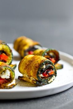 Grilled Zucchini Roll ups with Red Pepper, Goat Cheese and Curry