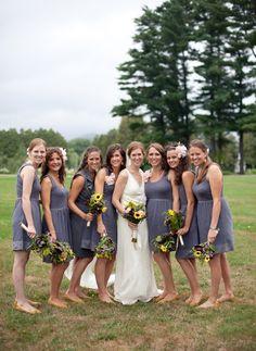 Bride and Bridesmaids #JCrew #wedding  http://www.ampersandphotoblog.com/2012/02/11/joel-amy-new-hampshire-wedding/#