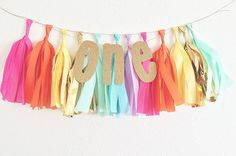 For high chair  One Glitter Tissue Tassel Banner  First Birthday by OhhHowCharming