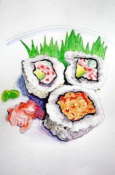California Japanese Sushi Rolls  Watercolor