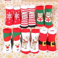 S Kids Christmas Socks,6 Pairs Unisex Baby Warm Socks Gift Cartoon Christmas Snowflake Santa Claus Elk Patterns Mid Stockings for 1-9 Years Toddle Childrens Socks Christmas Gift