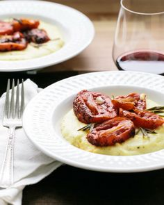 "Great for date night! // ""Rosemary Roasted Tomatoes with Polenta"" 