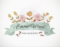 Photography Logo Custom Premade Watercolor by Demoisellepixel