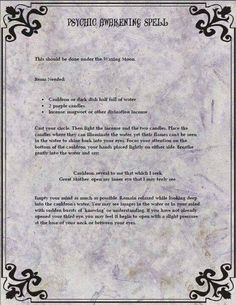 Psychic Awakening Spell…..Printable Spell Pages – Witches Of The Craft®