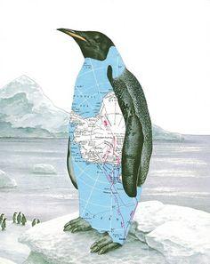 Antarctica Penguin Map Collage by dadadreams, via Flickr