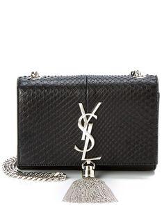 """Saint Laurent """"Cassandre"""" Python Tassel Leather Shoulder Bag"""