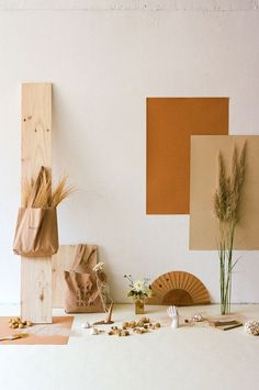 This arrangement of earthy shades, curcuma, rusty red and pampas grass neutrals is perfect for a Summer infused bohemian wedding or boho brand color palette. Deco Studio, Home Studio Photography, Bedroom Decor, Wall Decor, Art Direction, Color Inspiration, Decoration, Color Schemes, Backdrops