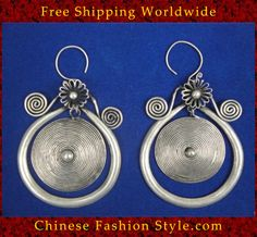 Want!! Tribal Silver Earrings Chinese Ethnic Hmong Miao Jewelry #108 Uniquely Handmade  http://www.chinesefashionstyle.com/earrings/