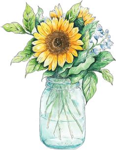 Nordic Style Kids Decoration,Scandinavian Decor,Picture On Wall,Oil Paint By Numbers Flower Wall Art Canvas Sunflower Vase, Sunflower Drawing, Watercolor Sunflower, Watercolor Flowers, Sunflower Canvas, Sunflower Design, Yellow Sunflower, Watercolor Clipart, Watercolor Paintings
