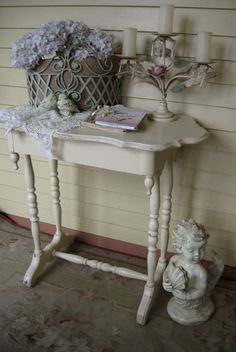 Shabby Chic single drawer Vintage table Shabby by Fannypippin,