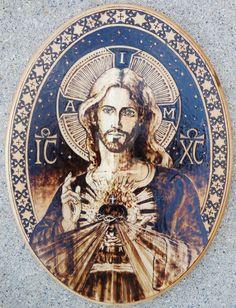 Sacred Heart of Jesus III - Pyrography by Theophilia.deviantart.com on @DeviantArt