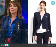 Kate's blue fringed suede jacket on Days of our Lives.  Outfit Details: https://wornontv.net/68499/ #DaysofourLives