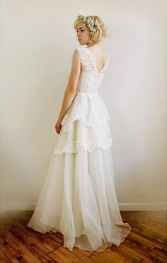 Mireille Silk organza and French lace wedding gown by Leanimal