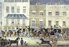 Pollard, Gloucester Coffee House, Piccadilly, 1828  As I said at the beginning, this image is fraught with meaning. I wonder if, when he was sketching this scene,  Scharf knew he was recording the great coaching era at its peak. Mail coaches leaving London     George Scharf: Chronicler of 19th Century London