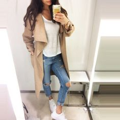 waterfall jacket waterfall coat camel coat ripped jeans fall outfits white t-shirt camel