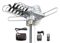 Esky® Amplified HD Digital Outdoor HDTV Antenna with Motorized 360 Degree Rotation, UHF/VHF/FM Radio with Infrared Remote Control from Esky Black Friday Cyber Monday Long Range Tv Antenna, Best Outdoor Tv Antenna, Samsung Televisions, Digital Tv, Remote, Audio, Popular, Electronics, Geek Toys
