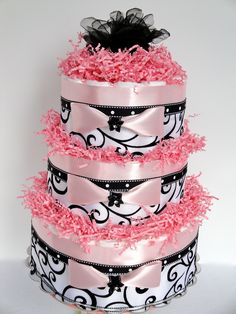 Damask Baby Shower Baby Diaper Cake - Black, Pink White Damask Elegant Baby Shower Diaper Cake Centerpiece - 3 Tier. $80.00, via Etsy.