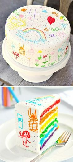 Cake decorated with a food decorating pen. Can also be used on cookies and cupcakes. Cake Icing, Cupcake Cakes, Beautiful Cakes, Amazing Cakes, Doodle Cake, Birthday Cake Girls, Culinary Arts, Creative Cakes, Cakes And More