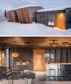 A large highlighted wood door guides people inside this modern house, where they will find a warm and cozy interior with a fireplace. #WoodDoor #FrontDoor #CozyInterior