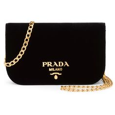 Prada Small Velvet Flap Crossbody Bag ($1,500) ❤ liked on Polyvore featuring bags, handbags, shoulder bags, black, chain strap crossbody purse, prada, flap crossbody, flap shoulder bag and prada handbags