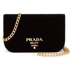 Prada Small Velvet Flap Crossbody Bag (£1,110) ❤ liked on Polyvore featuring bags, handbags, shoulder bags, black, flap crossbody, chain strap purse, crossbody purse, flap handbags and chain strap handbag