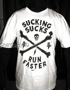 MEN'S SIZE XL NIKE T-SHIRT SWOOSH SUCKING SUCKS RUN FASTER SKULL CROSSBONES #NIKE #GraphicTee