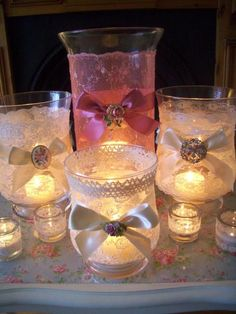 Lace and candlelight. So pretty Candle Lanterns, Diy Candles, Bottles And Jars, Mason Jars, Romantic Candles, Altered Bottles, Christmas Candle, Wedding Reception Decorations, Wedding Vases