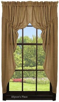 Burlap Window Prairie Curtain  349-PRC Cabin Curtains, Swag Curtains, Farmhouse Curtains, Burlap Curtains, Valance, Cotton Curtains, Primitive Living Room, Primitive Kitchen, Country Primitive