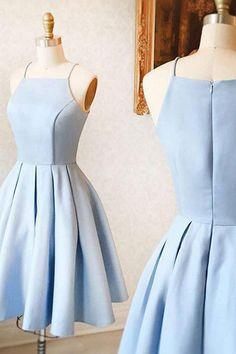 A-Line Spaghetti Straps Homecoming Dress,Sleeveless Light Blue Stretch Satin Homecoming Dresses,Light Blue Short Prom Dress,graduation dress,short formal gown