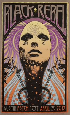 AUSTIN PSYCH FEST | APF 2013 – BRMC by ADAM POBIAK POSTER. Really want to make it this year!
