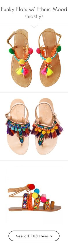 """Funky Flats w/ Ethnic Mood (mostly)"" by judymjohnson ❤ liked on Polyvore featuring shoes, sandals, flats, pom pom shoes, embellished sandals, boho chic shoes, leather shoes, beach shoes, flat sandal and slingback sandals"