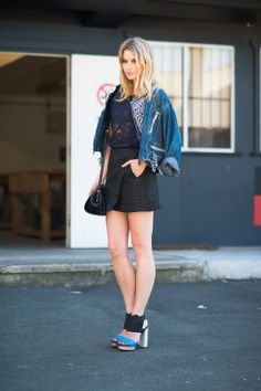 22 Denim-Done-Right Street-Style Outfits #refinery29  http://www.refinery29.com/51703#slide2  Pairing navy and black like a pro.
