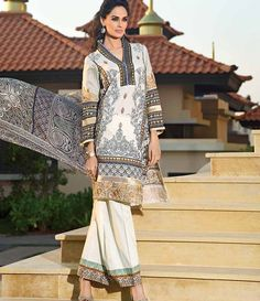 HSY Embroidered Lawn Suits 2015 H-009A