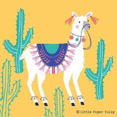 Lama et Cactus. Little Paper Tulip