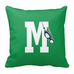 Swimmers Goggle Throw Pillow with Monogram Initial for Girls and Boys - Swimming - Swim Team - Preppy Sports Gift for Teens and Kids - White, Green, Navy Blue